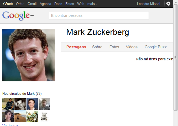 Mark Zuckerberg no Google+