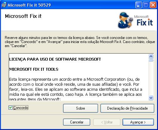 Microsoft Hotfix 50529 - Primeira etapa