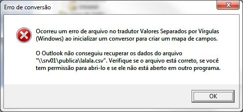 Erro de tradução Microsoft Outlook